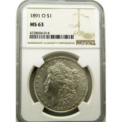 1891-O MORGAN SILVER DOLLAR NGC MS 63