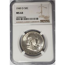 1949-D 50C Franklin Half Dollar NGC MS64