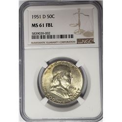 1951-D 50C Franklin Half Dollar NGC MS61 FBL