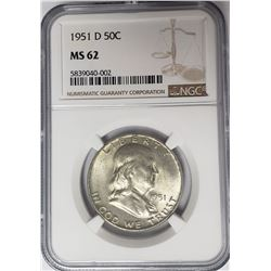 1951-D 50C Franklin Half Dollar NGC MS62