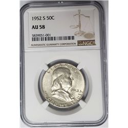1952-S 50C Franklin Half Dollar NGC AU58