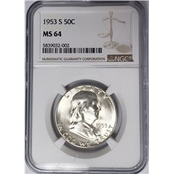 1953-S 50C Franklin Half Dollar NGC MS64