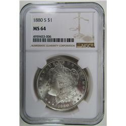 1880-S Morgan Silver Dollar $ NGC MS 64