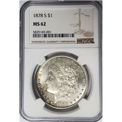 1878-S Morgan Silver Dollar $1 NGC MS62