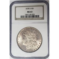 1878-S Morgan Silver Dollar $1 NGC MS63