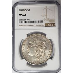 1878-S Morgan Silver Dollar $1 NGC MS61