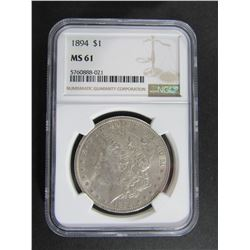 1894 MORGAN SILVER DOLLAR NGC MS61