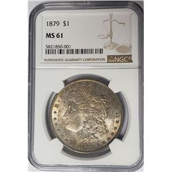 1879 Morgan Silver Dollar $1 NGC MS61