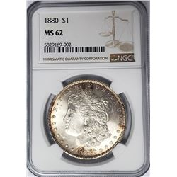 1880-P Morgan Silver Dollar $1 NGC MS62