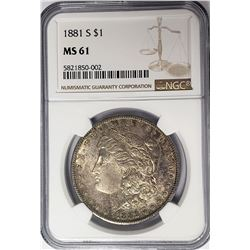 1881-S $1 Morgan Silver Dollar NGC MS61