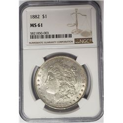 1882-P $1 Morgan Silver Dollar NGC MS61