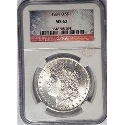 1884-O Morgan Silver Dollar NGC MS62 $1