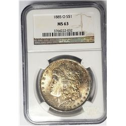 1885-O Morgan Silver Dollar $1 NGC MS63