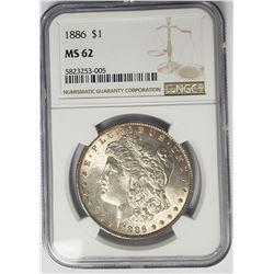 1886 Morgan Silver Dollar $1 NGC MS62