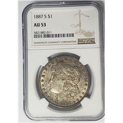 1887-S $1 Morgan Silver Dollar NGC AU53