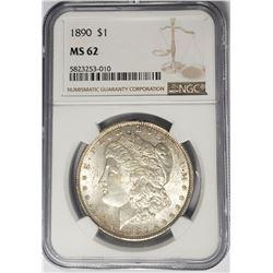 1890-P $1 Morgan Silver Dollar NGC MS62