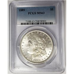1889 Morgan Silver Dollar $1 PCGS MS63