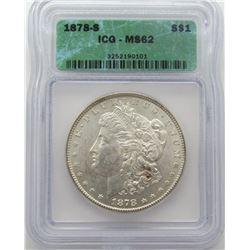 1878-S Morgan Silver Dollar ICG MS 62
