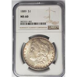 1889 Morgan Silver Dollar $1 NGC MS60