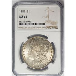 1889-P $1 Morgan Silver Dollar NGC MS61
