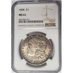 1898 Morgan Silver Dollar $1 NGC MS61