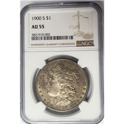 1900-S Morgan Silver Dollar $1 NGC AU55