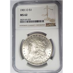 1901-O Morgan Silver Dollar $1 NGC MS62