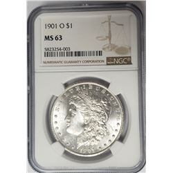 1901-O Morgan Silver Dollar $1 NGC MS63