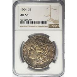 1904-P Morgan Silver Dollar $1 NGC AU55