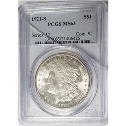 1921-S Morgan Silver Dollar PCGS MS63