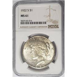 1922-S $1 Peace Silver Dollar NGC MS61