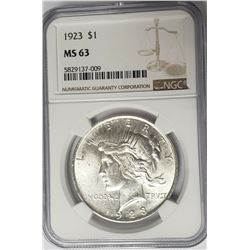 1923-P $1 Peace Silver Dollar NGC MS63