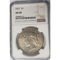 1927-P $1 Peace Silver Dollar NGC AU58