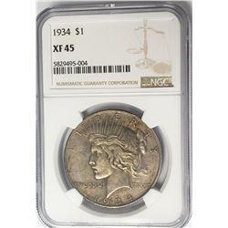 1934-P $1 Peace Silver Dollar NGC XF45