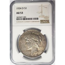 1934-D $1 Peace Silver Dollar NGC AU53