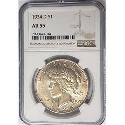 1934-D $1 Peace Silver Dollar NGC AU55