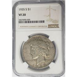1935-S $1 Peace Silver Dollar NGC VF20