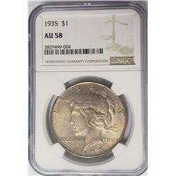 1935-P $1 Peace Silver Dollar NGC AU58