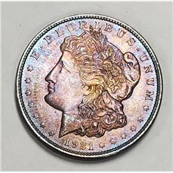 "1921 ""RAINBOW"" MORGAN DOLLAR"