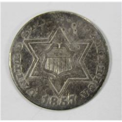 1857 THREE CENT SILVER PIECE