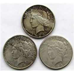 3-SILVER DOLLARS CIRC OR BETTER