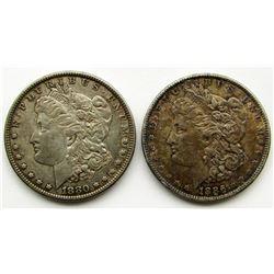 2 - AU MORGAN DOLLARS: 1880 & 1886