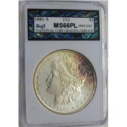 1881-S MORGAN SILVER DOLLAR NCGS MS 66 PL