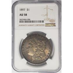 1897-P Morgan Silver Dollar $1 NGC AU58