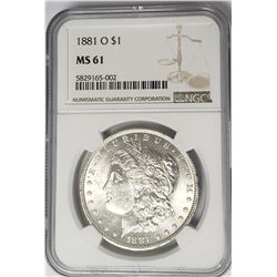 1881-O Morgan Silver Dollar $1 NGC MS61