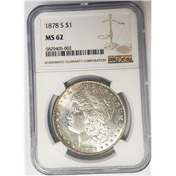 1878-S Morgan Silver Dollar $1 NGC MS62