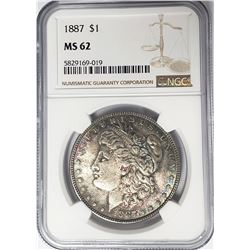 1887-P Morgan Silver Dollar $1 NGC MS62