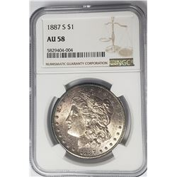 1887-S Morgan Silver Dollar $1 NGC AU58