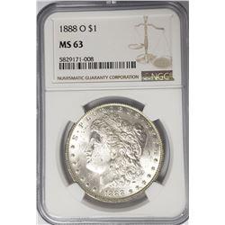 1888-O Morgan Silver Dollar $1 NGC MS63