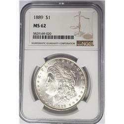 1889-P Morgan Silver Dollar $1 NGC MS62